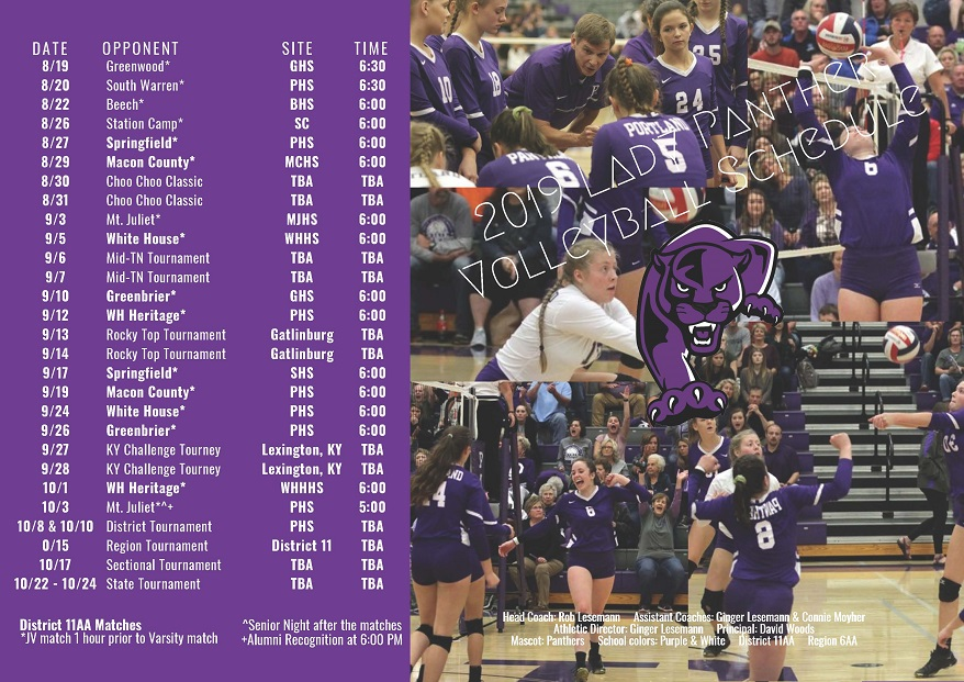 2019 Lady Panther Volleyball Schedulesmall