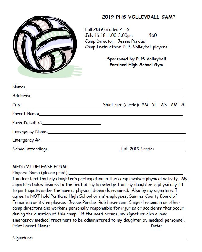 2019 Volleyball Summer Camp form